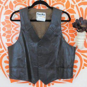 Vintage Pioneer Wear Brown Leather Vest